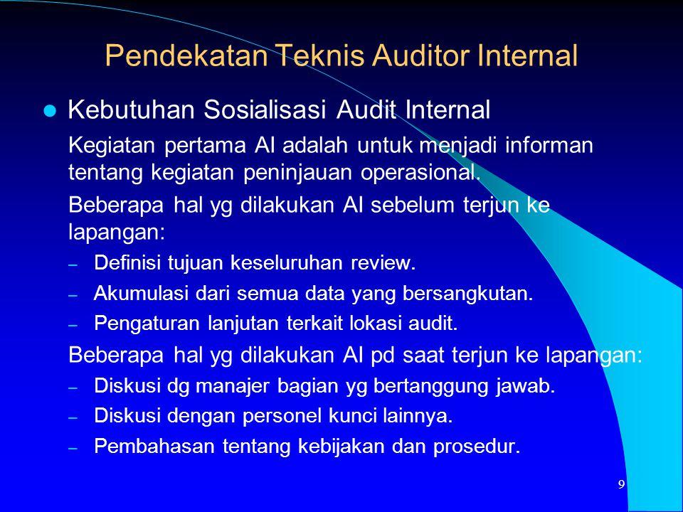 Kebutuhan Sosialisasi Audit Internal Kegiatan pertama AI adalah untuk menjadi informan tentang kegiatan peninjauan operasional. Beberapa hal yg dilaku