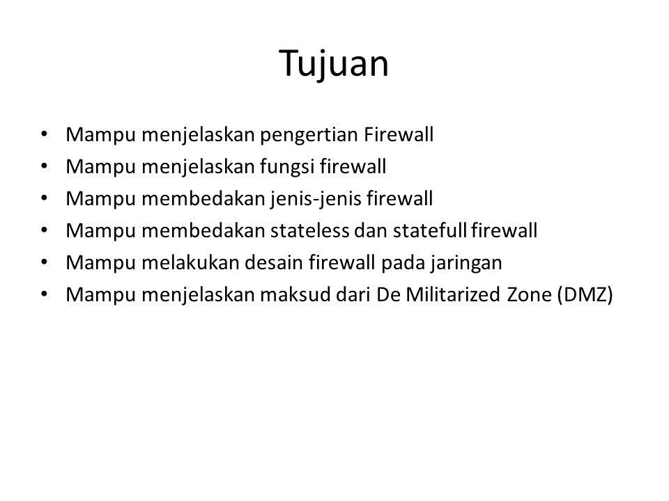 Tujuan Mampu menjelaskan pengertian Firewall Mampu menjelaskan fungsi firewall Mampu membedakan jenis-jenis firewall Mampu membedakan stateless dan statefull firewall Mampu melakukan desain firewall pada jaringan Mampu menjelaskan maksud dari De Militarized Zone (DMZ)