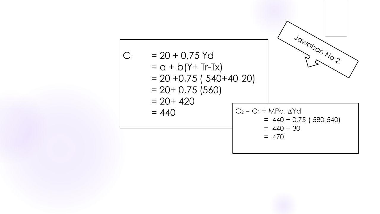 C 1 = 20 + 0,75 Yd = a + b(Y+ Tr-Tx) = 20 +0,75 ( 540+40-20) = 20+ 0,75 (560) = 20+ 420 = 440 C 2 = C 1 + MPc. ∆Yd = 440 + 0,75 ( 580-540) = 440 + 30