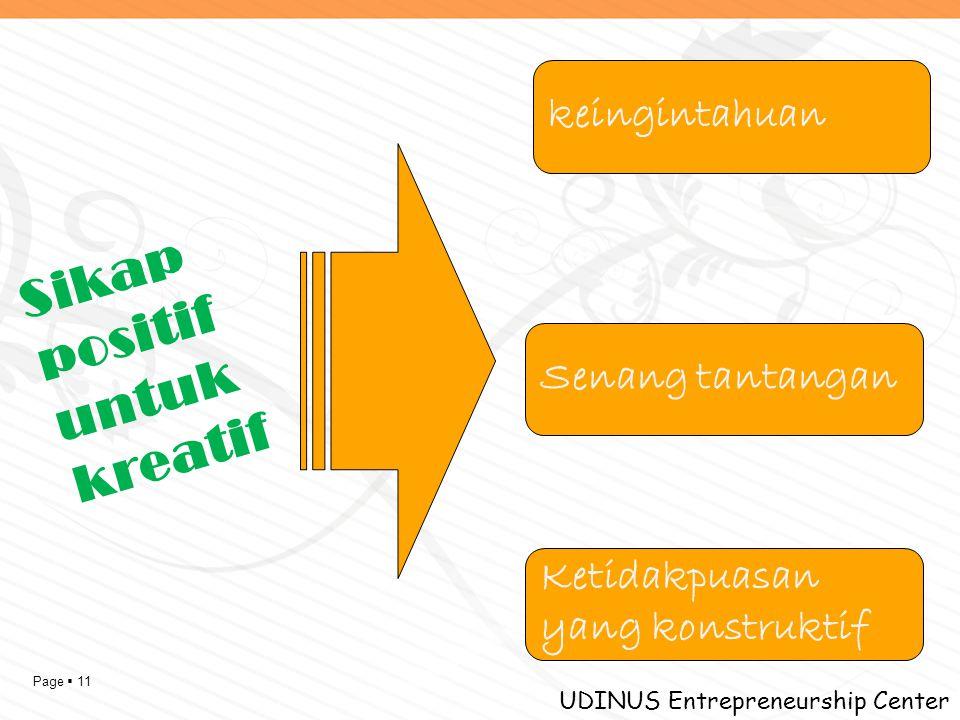 Page  11 UDINUS Entrepreneurship Center Sikap positif untuk kreatif keingintahuan Senang tantangan Ketidakpuasan yang konstruktif