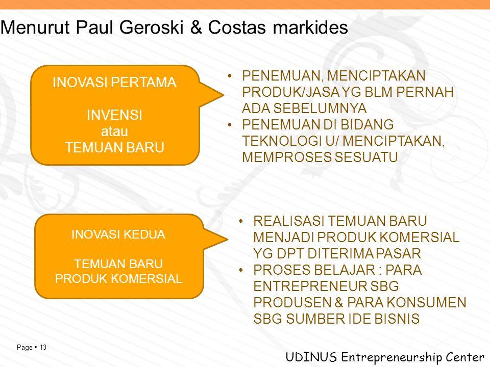 Page  13 UDINUS Entrepreneurship Center Menurut Paul Geroski & Costas markides INOVASI PERTAMA INVENSI atau TEMUAN BARU INOVASI KEDUA TEMUAN BARU PRO