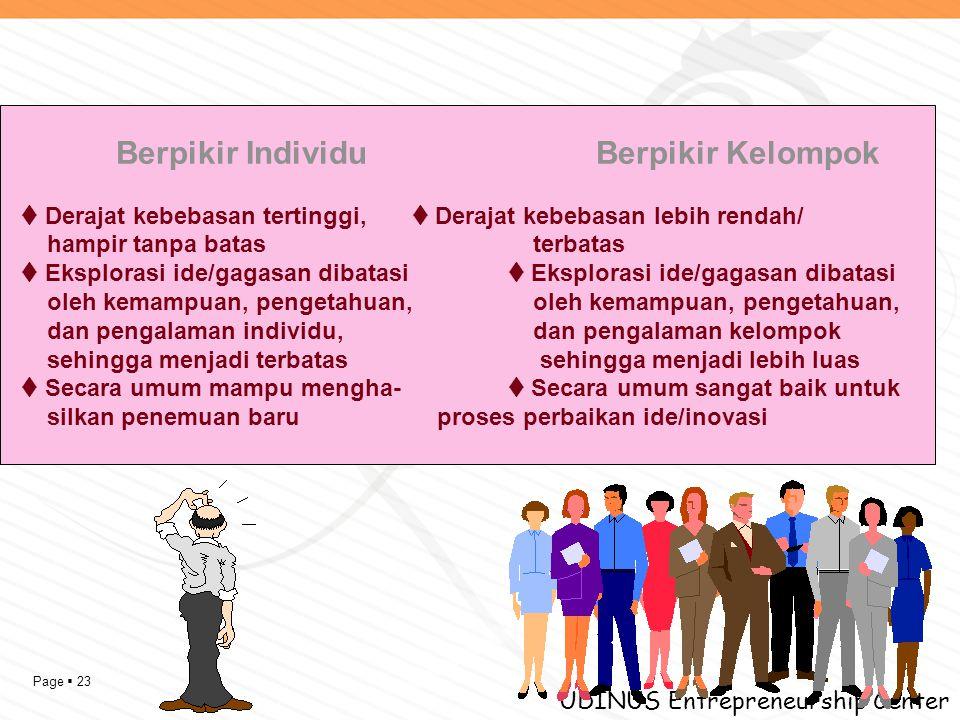 Page  23 UDINUS Entrepreneurship Center Berpikir IndividuBerpikir Kelompok  Derajat kebebasan tertinggi,  Derajat kebebasan lebih rendah/ hampir ta