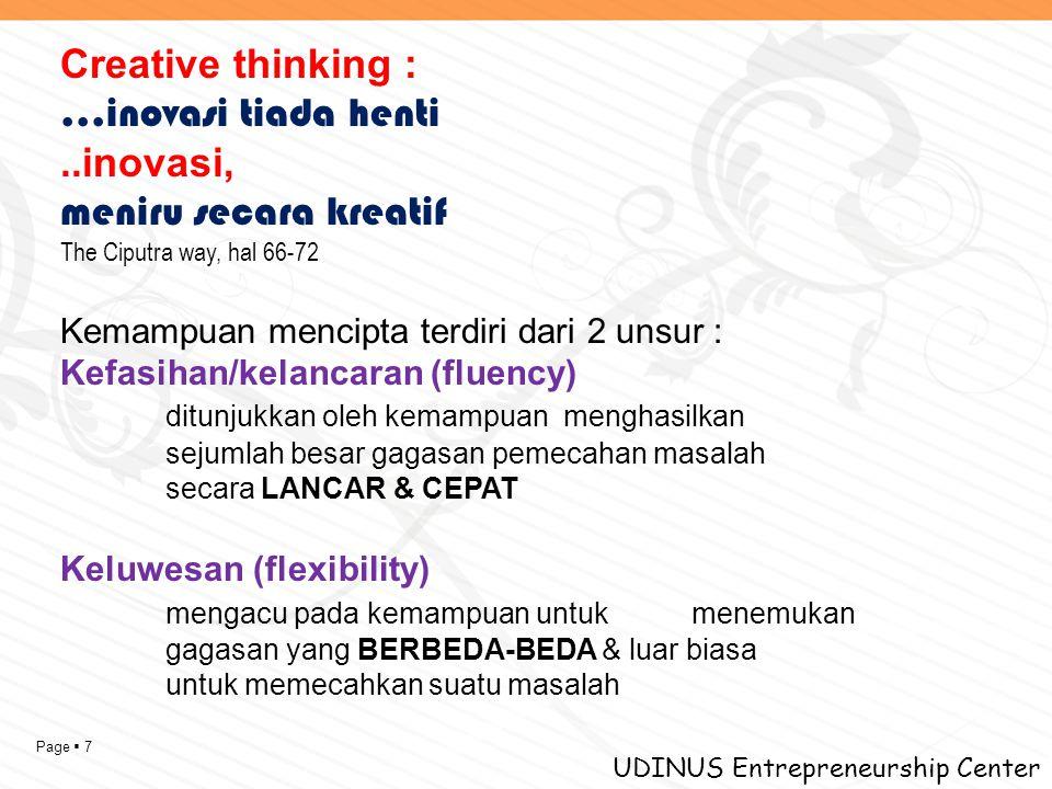 Page  7 UDINUS Entrepreneurship Center Creative thinking : …inovasi tiada henti..inovasi, meniru secara kreatif The Ciputra way, hal 66-72 Kemampuan