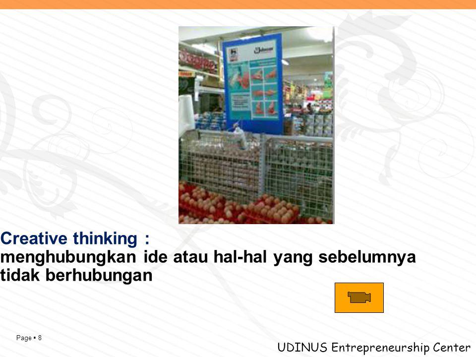 Page  8 UDINUS Entrepreneurship Center Creative thinking : menghubungkan ide atau hal-hal yang sebelumnya tidak berhubungan