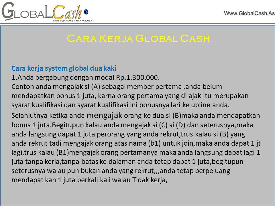 Cara kerja system global dua kaki 1.Anda bergabung dengan modal Rp.1.300.000.