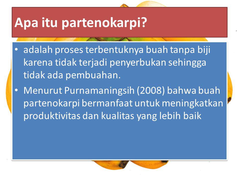 Apa itu partenokarpi? adalah proses terbentuknya buah tanpa biji karena tidak terjadi penyerbukan sehingga tidak ada pembuahan. Menurut Purnamaningsih