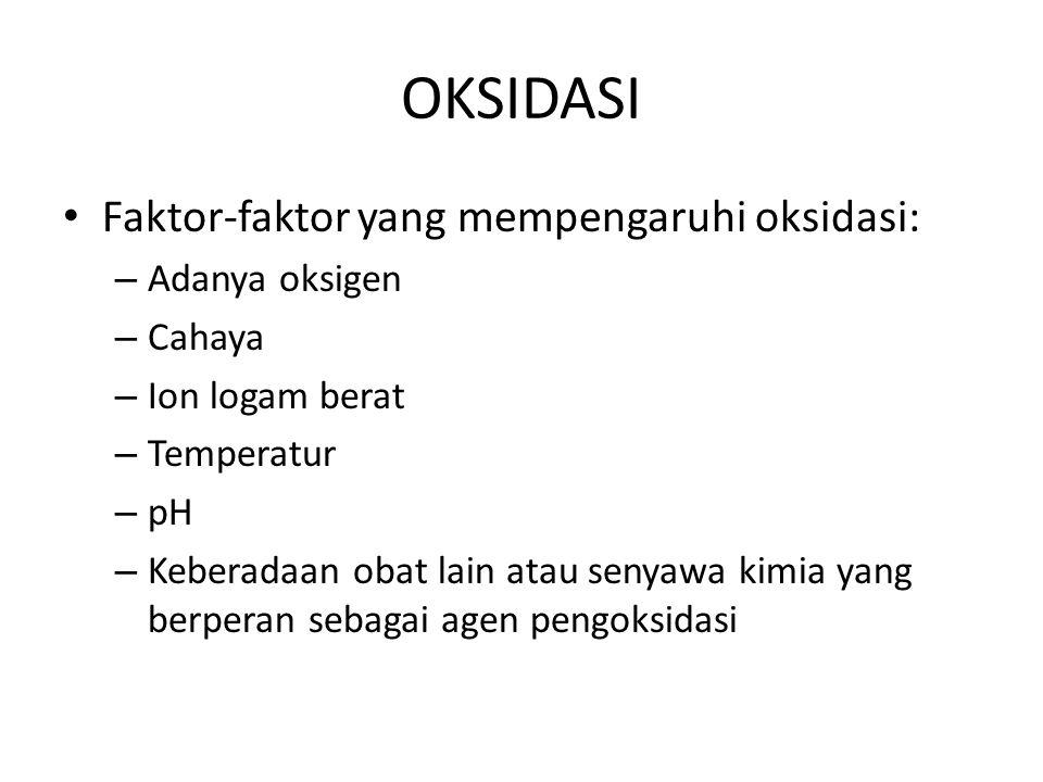 OKSIDASI Faktor-faktor yang mempengaruhi oksidasi: – Adanya oksigen – Cahaya – Ion logam berat – Temperatur – pH – Keberadaan obat lain atau senyawa k