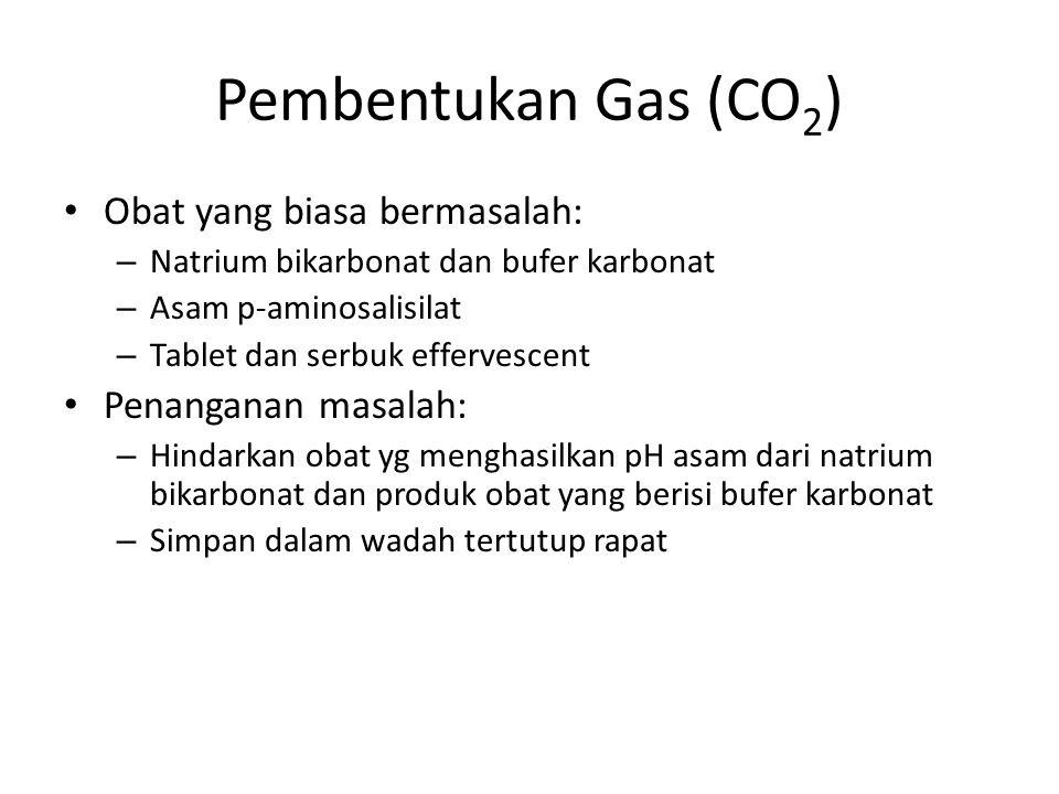 Pembentukan Gas (CO 2 ) Obat yang biasa bermasalah: – Natrium bikarbonat dan bufer karbonat – Asam p-aminosalisilat – Tablet dan serbuk effervescent P
