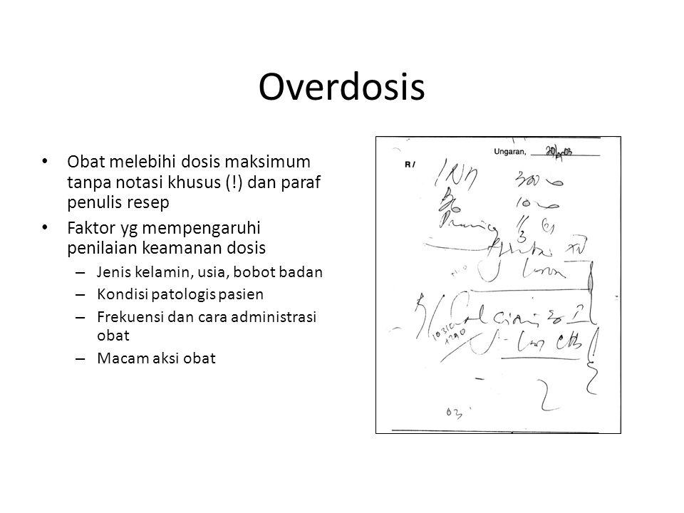 Overdosis Obat melebihi dosis maksimum tanpa notasi khusus (!) dan paraf penulis resep Faktor yg mempengaruhi penilaian keamanan dosis – Jenis kelamin