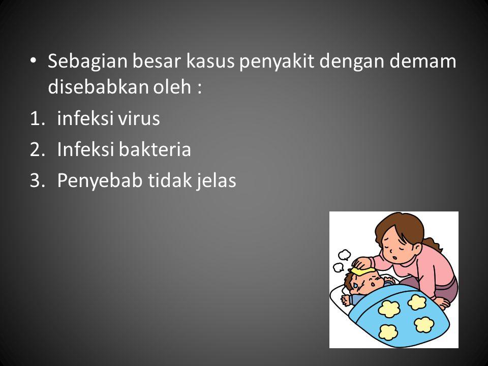 Sebagian besar kasus penyakit dengan demam disebabkan oleh : 1.infeksi virus 2.Infeksi bakteria 3.Penyebab tidak jelas