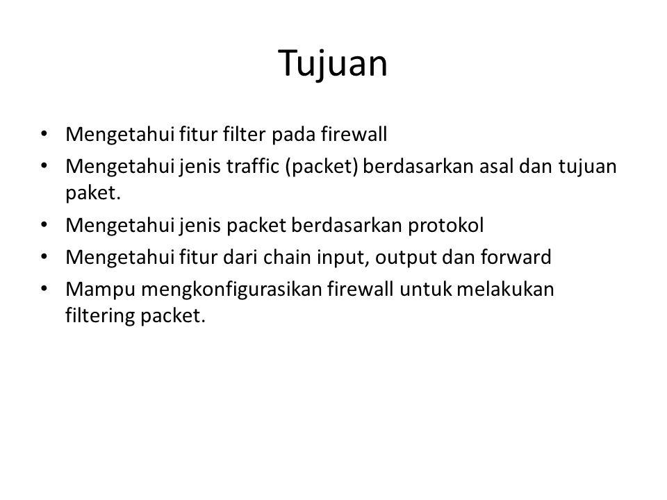 Tujuan Mengetahui fitur filter pada firewall Mengetahui jenis traffic (packet) berdasarkan asal dan tujuan paket. Mengetahui jenis packet berdasarkan