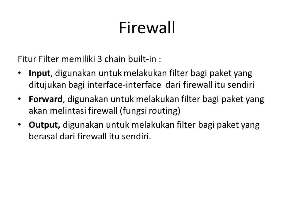 Firewall Fitur Filter memiliki 3 chain built-in : Input, digunakan untuk melakukan filter bagi paket yang ditujukan bagi interface-interface dari fire