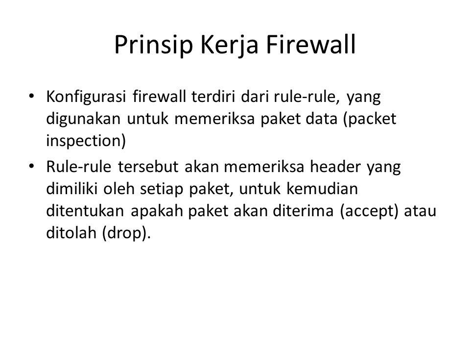 Prinsip Kerja Firewall Konfigurasi firewall terdiri dari rule-rule, yang digunakan untuk memeriksa paket data (packet inspection) Rule-rule tersebut a
