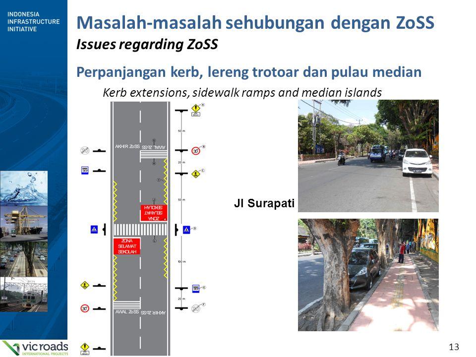 13 Masalah-masalah sehubungan dengan ZoSS Issues regarding ZoSS Perpanjangan kerb, lereng trotoar dan pulau median Kerb extensions, sidewalk ramps and median islands Jl Surapati