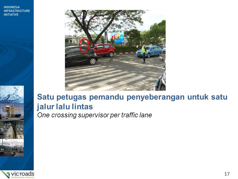 17 Satu petugas pemandu penyeberangan untuk satu jalur lalu lintas One crossing supervisor per traffic lane