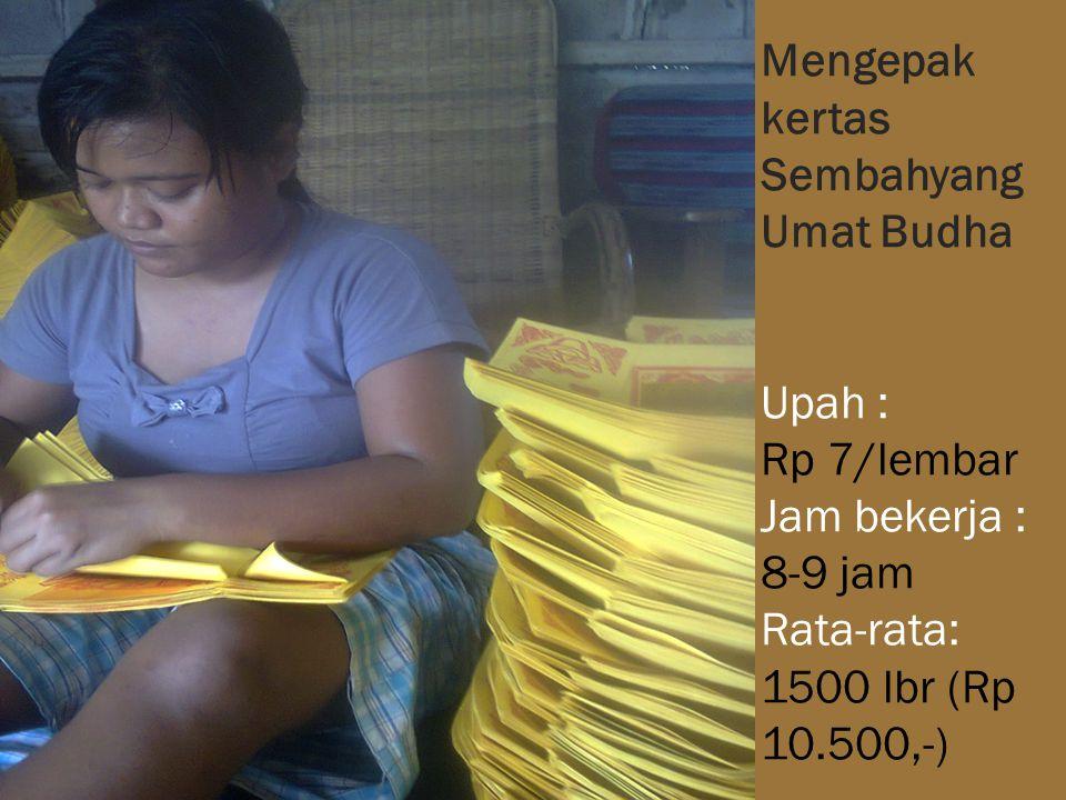Mengepak kertas Sembahyang Umat Budha Upah : Rp 7/lembar Jam bekerja : 8-9 jam Rata-rata: 1500 lbr (Rp 10.500,-)
