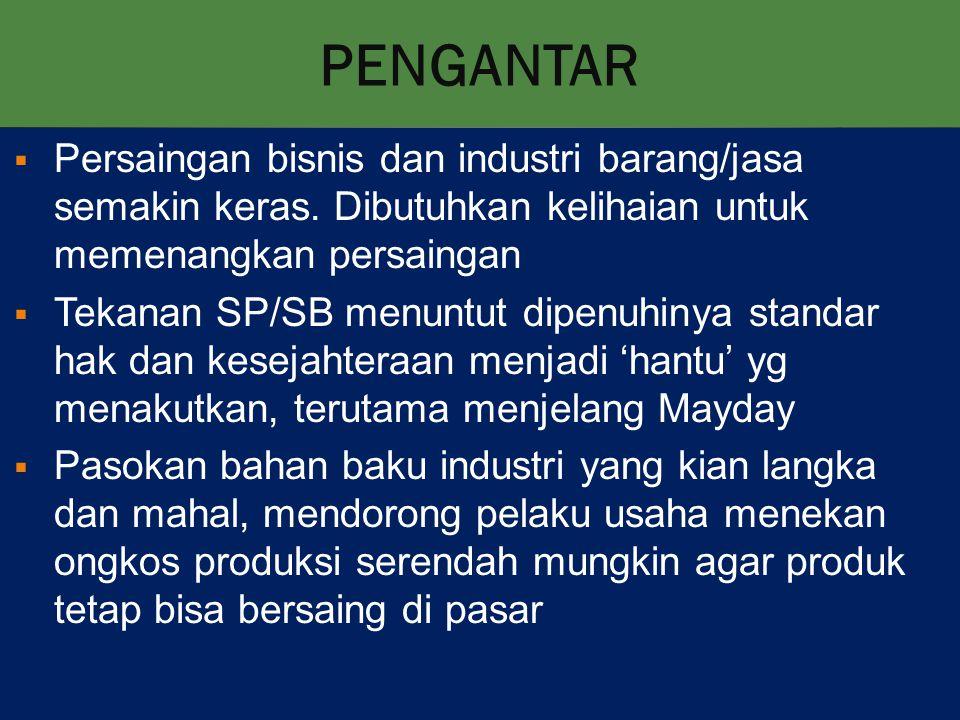 PENGANTAR  Persaingan bisnis dan industri barang/jasa semakin keras.