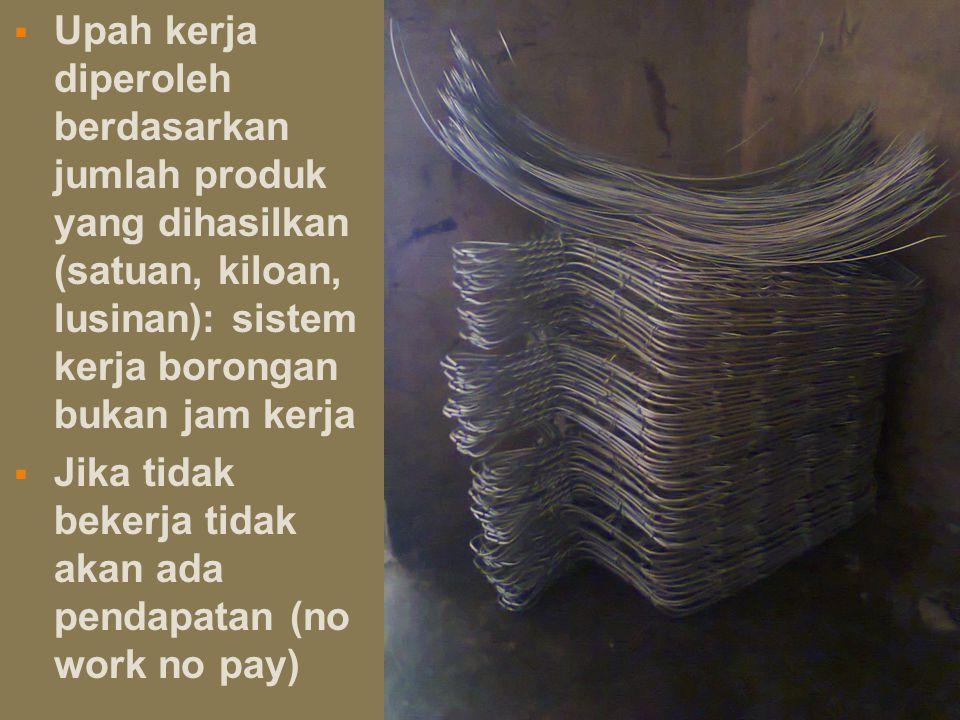  Upah kerja diperoleh berdasarkan jumlah produk yang dihasilkan (satuan, kiloan, lusinan): sistem kerja borongan bukan jam kerja  Jika tidak bekerja tidak akan ada pendapatan (no work no pay)