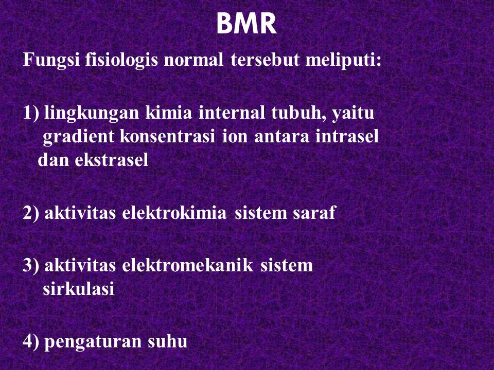 BMR Fungsi fisiologis normal tersebut meliputi: 1) lingkungan kimia internal tubuh, yaitu gradient konsentrasi ion antara intrasel dan ekstrasel 2) ak