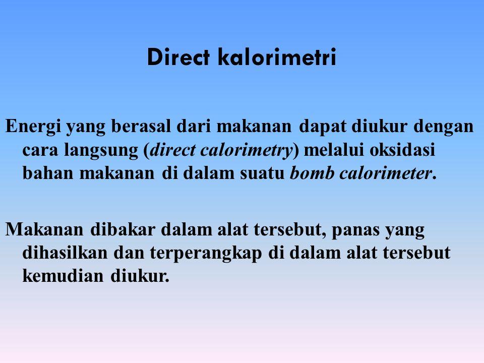 Direct kalorimetri Energi yang berasal dari makanan dapat diukur dengan cara langsung (direct calorimetry) melalui oksidasi bahan makanan di dalam sua