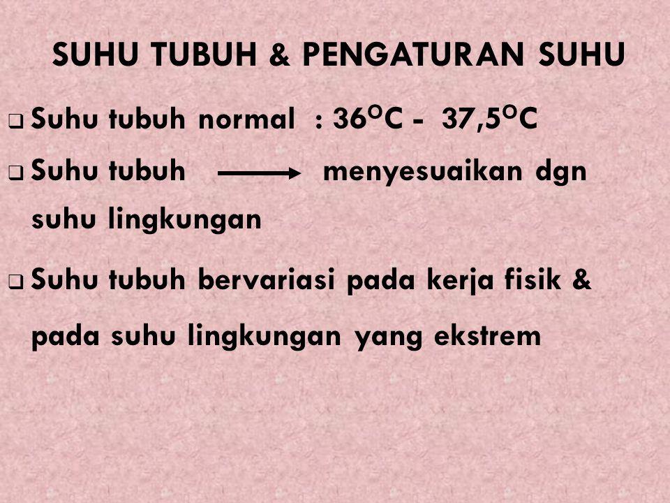 7/12/2015 29  Suhu tubuh normal : 36 O C - 37,5 O C  Suhu tubuh menyesuaikan dgn suhu lingkungan  Suhu tubuh bervariasi pada kerja fisik & pada suh