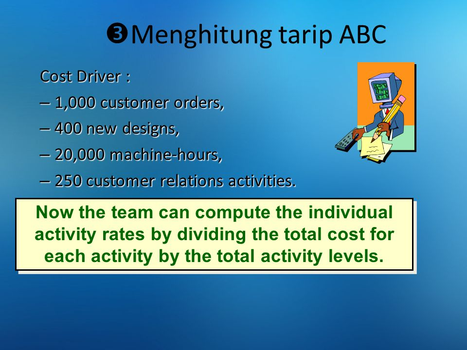  Menghitung tarip ABC Cost Driver : – 1,000 customer orders, – 400 new designs, – 20,000 machine-hours, – 250 customer relations activities. Now the