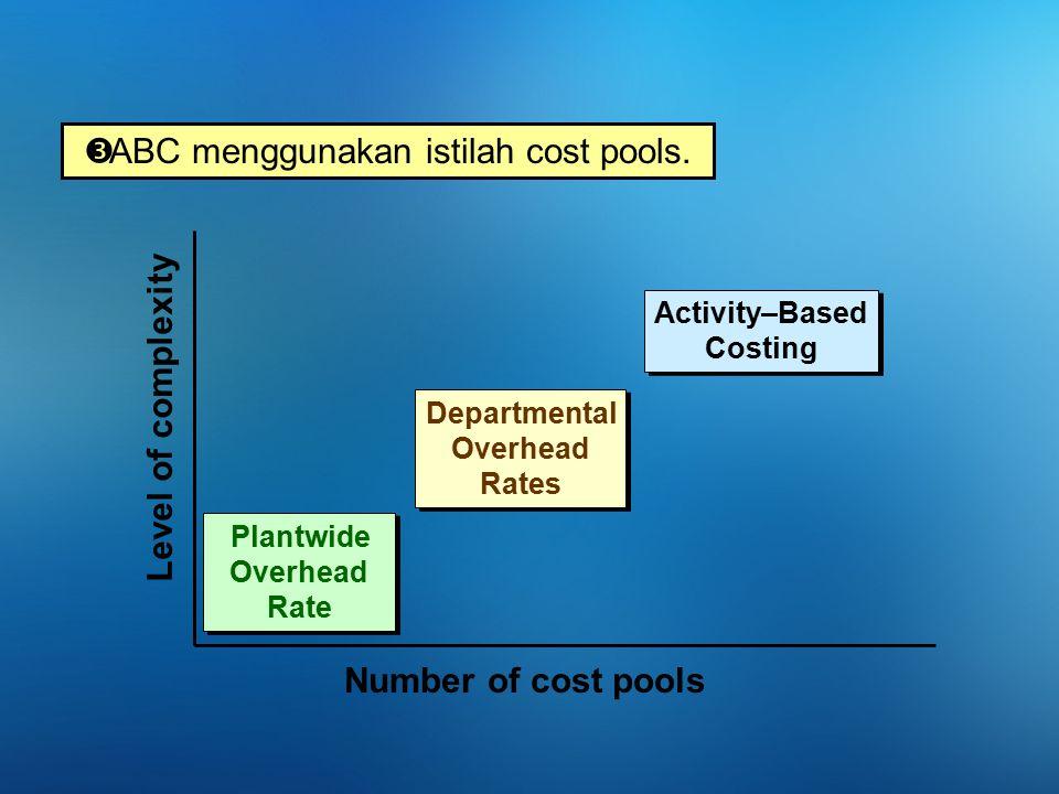 Perbedaan alokasi BOP dg ABC dan Tradisional Cost pool dalam ABC, memiliki ukuran aktivitas yg berbeda utk alokasi BOP.
