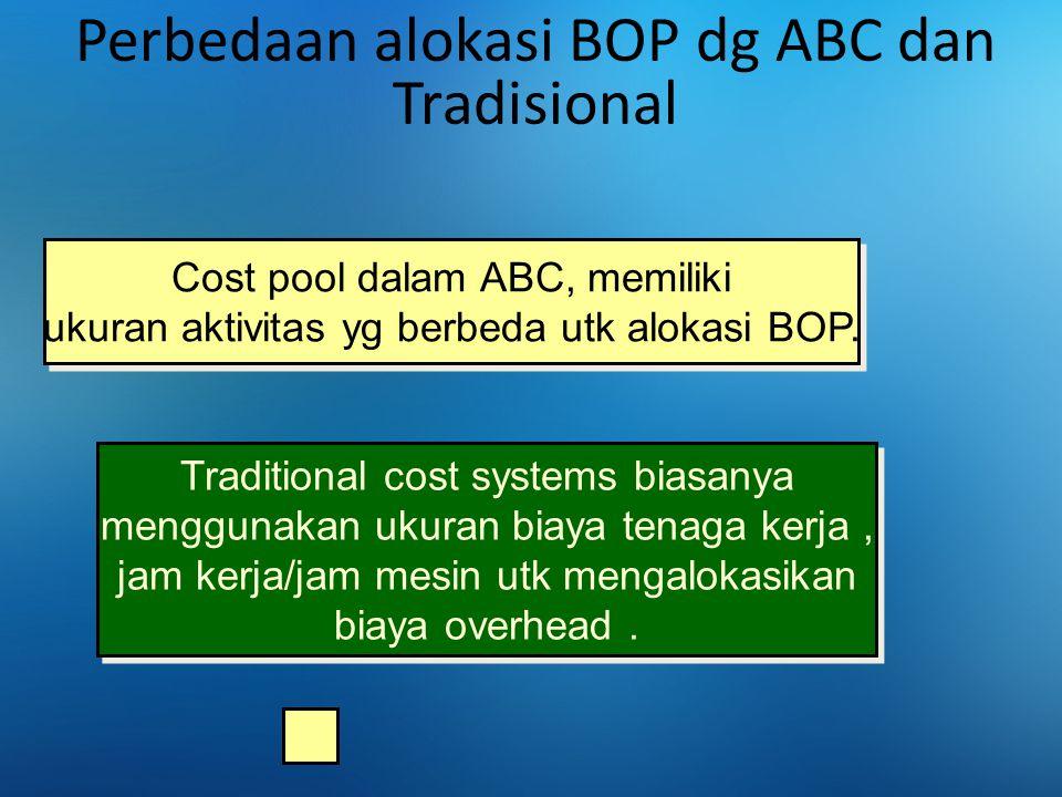 Perbedaan alokasi BOP dg ABC dan Tradisional Cost pool dalam ABC, memiliki ukuran aktivitas yg berbeda utk alokasi BOP. Traditional cost systems biasa