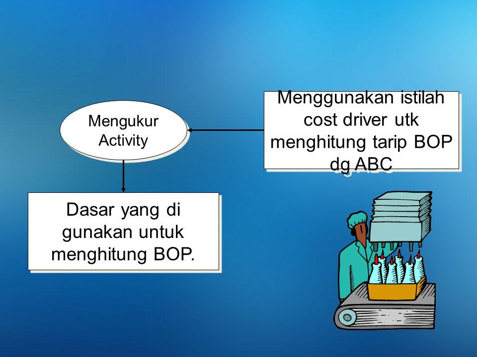 Mengukur Activity Mengukur Activity Dasar yang di gunakan untuk menghitung BOP. Menggunakan istilah cost driver utk menghitung tarip BOP dg ABC