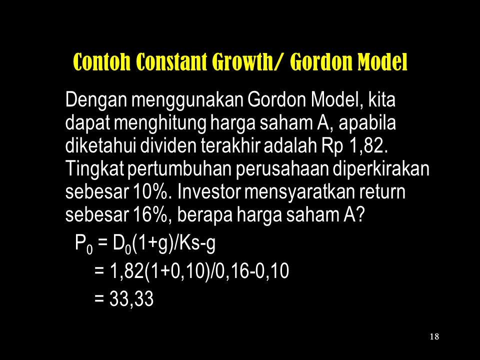PENILAIAN SAHAM: CONSTANT GROWTH MODEL 2. Model pertumbuhan constant (constant growth model) P 0 = Harga saham D 0 = Nilai dividen terakhir g = tingka