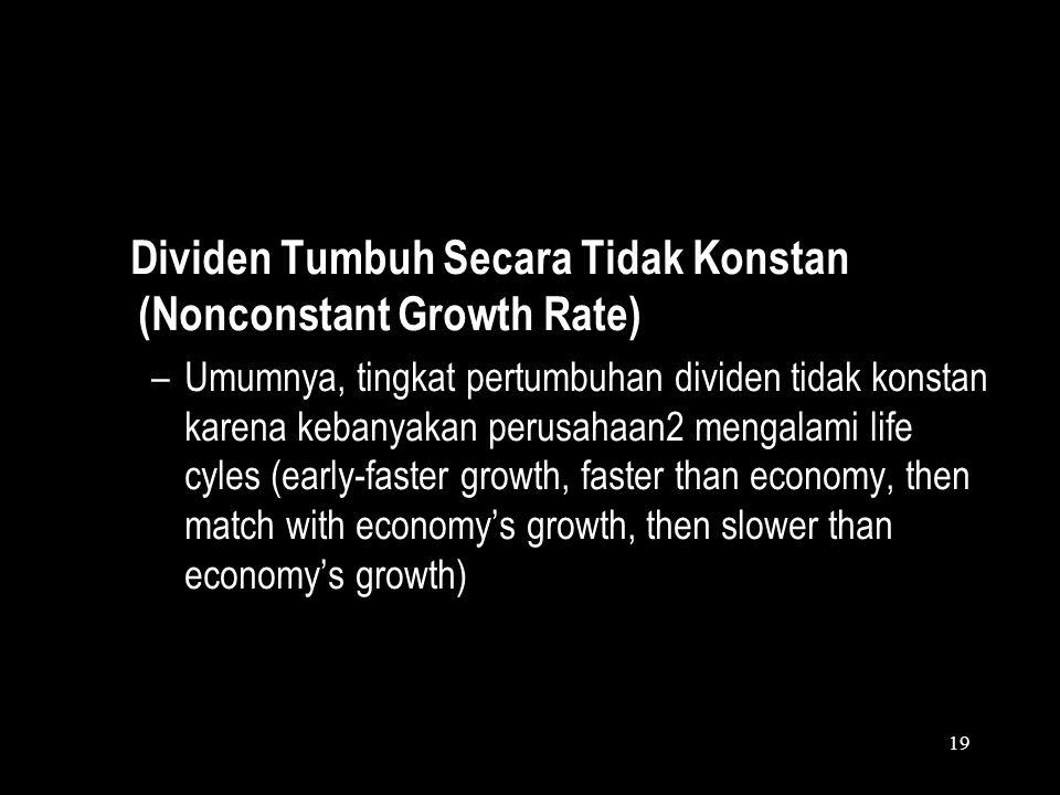 18 Contoh Constant Growth/ Gordon Model Dengan menggunakan Gordon Model, kita dapat menghitung harga saham A, apabila diketahui dividen terakhir adala