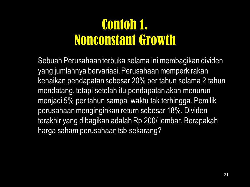 20 Langkah-langkah Perhitungan Nonconstant Growth 1.Menentukan estimasi pertumbuhan dividen (g) 2.Menghitung present value dividen selama periode dima