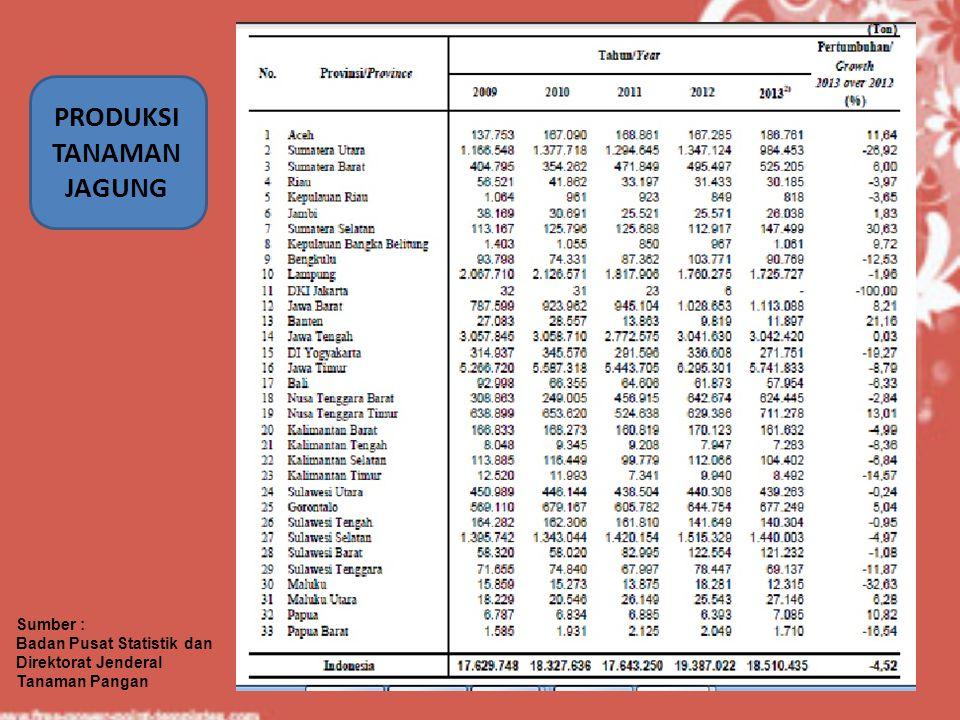 PRODUKSI TANAMAN JAGUNG Sumber : Badan Pusat Statistik dan Direktorat Jenderal Tanaman Pangan
