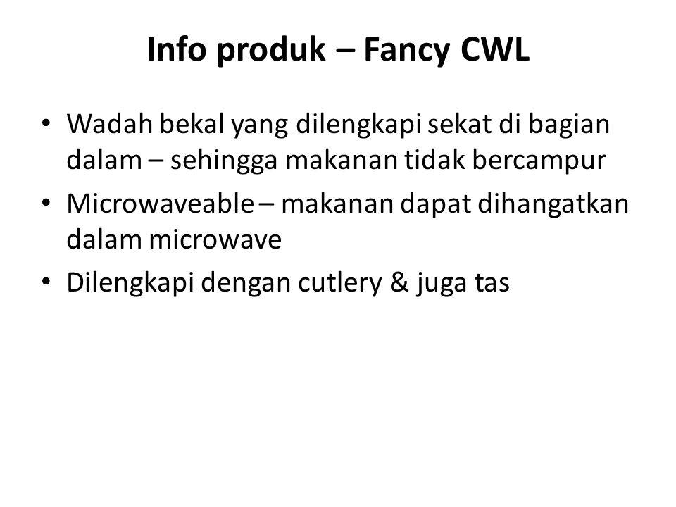 Info produk – Fancy CWL Wadah bekal yang dilengkapi sekat di bagian dalam – sehingga makanan tidak bercampur Microwaveable – makanan dapat dihangatkan