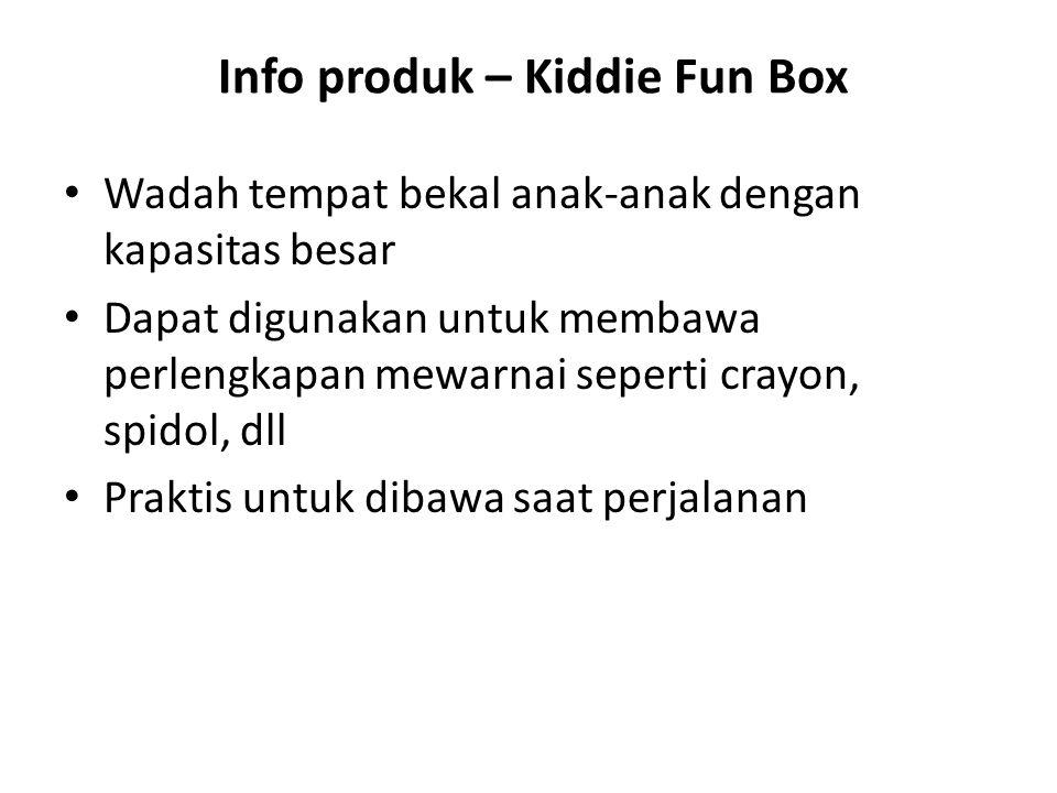 Info produk – Kiddie Fun Box Wadah tempat bekal anak-anak dengan kapasitas besar Dapat digunakan untuk membawa perlengkapan mewarnai seperti crayon, spidol, dll Praktis untuk dibawa saat perjalanan