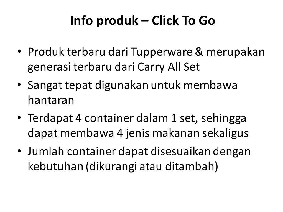 Info produk – Click To Go Produk terbaru dari Tupperware & merupakan generasi terbaru dari Carry All Set Sangat tepat digunakan untuk membawa hantaran