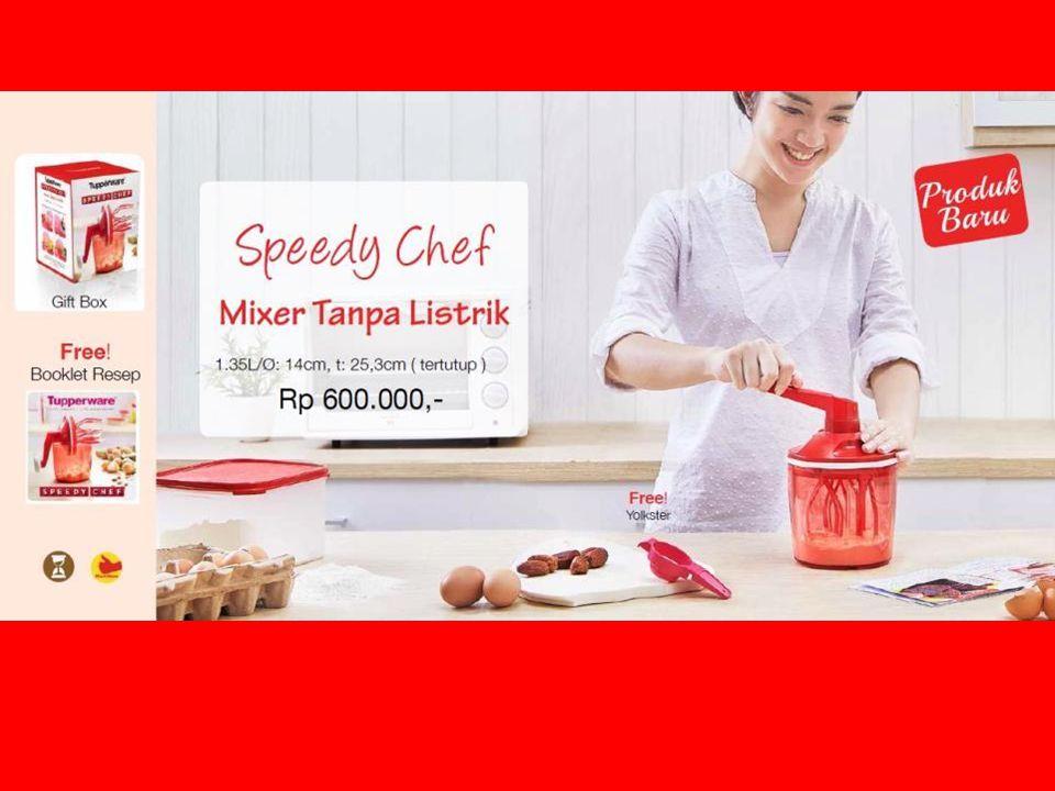 Info produk – Speedy Chef Speedy Chef = Mixer tanpa listrik Produk inovatif dari Tupperware yang mampu mengocok telur, cream, saus maupun adonan ringan tanpa menggunakan listrik 1x putaran = sama seperti mengocok 27 kali