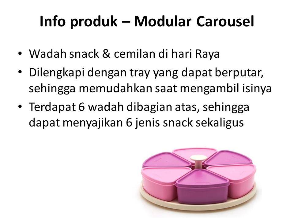 Info produk – Modular Carousel Wadah snack & cemilan di hari Raya Dilengkapi dengan tray yang dapat berputar, sehingga memudahkan saat mengambil isiny