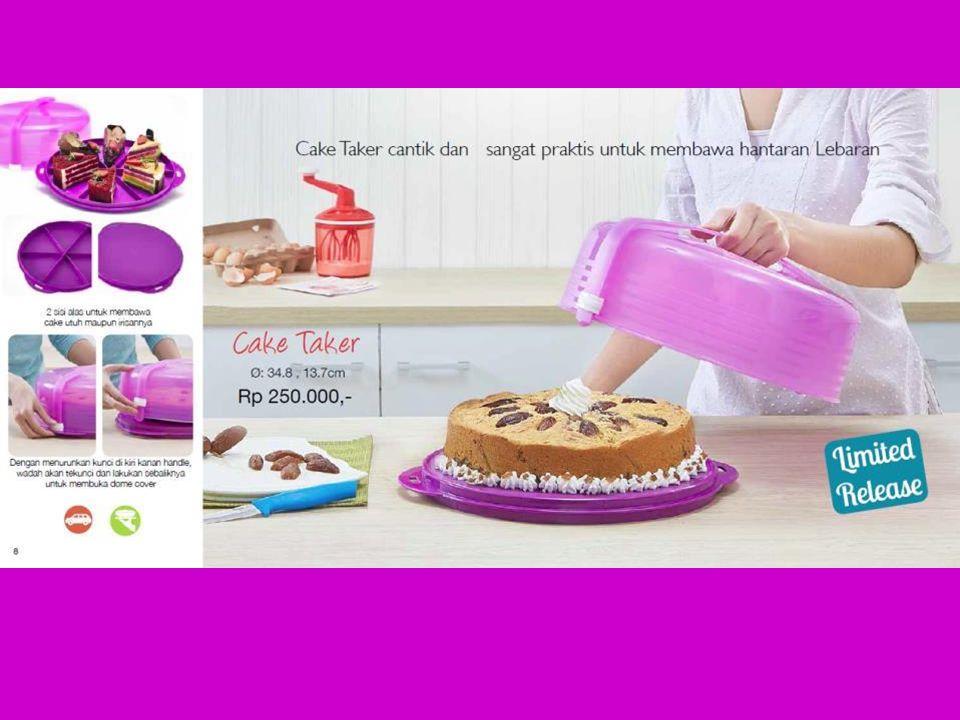 Info produk – Cake Taker Wadah yang tepat untuk membawa & menyajikan kue tart bagi keluarga Dilengkapi dengan tray yang dapat dibolak- balik kedua sisinya, disesuaikan dengan kebutuhan Dilengkapi dengan cover dan pengunci di kedua sisinya, sehingga melindungi kue tart anda & praktis saat dibawa