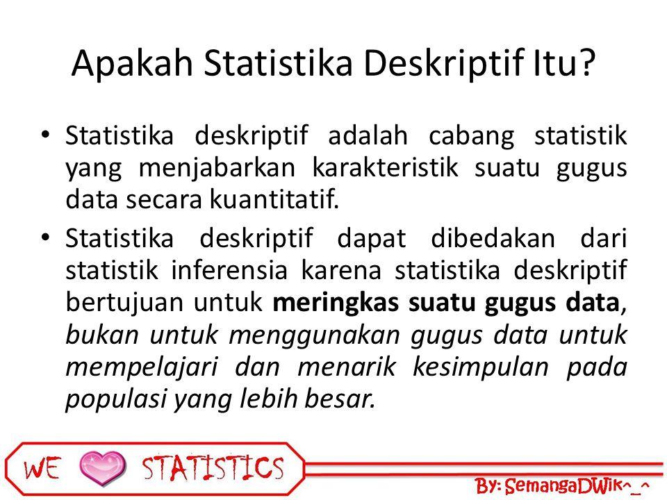 Apakah Statistika Deskriptif Itu? Statistika deskriptif adalah cabang statistik yang menjabarkan karakteristik suatu gugus data secara kuantitatif. St