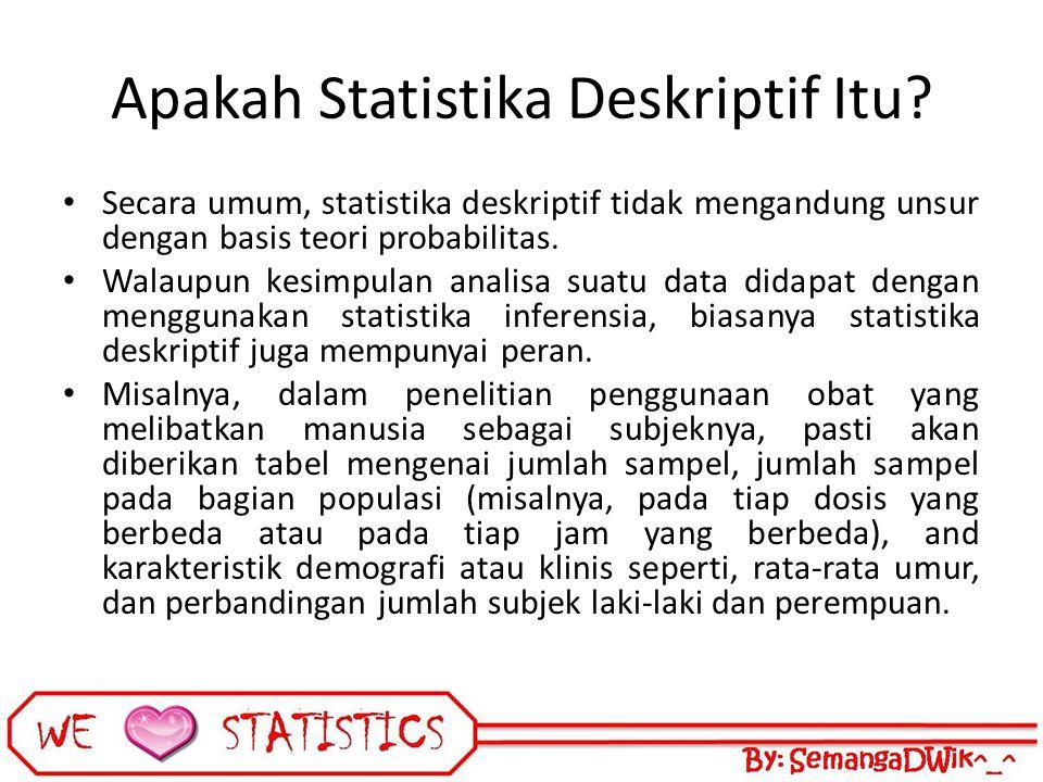 Apakah Statistika Deskriptif Itu? Secara umum, statistika deskriptif tidak mengandung unsur dengan basis teori probabilitas. Walaupun kesimpulan anali