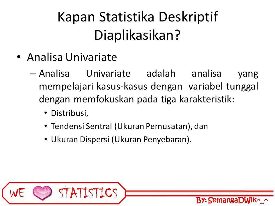 Kapan Statistika Deskriptif Diaplikasikan? Analisa Univariate – Analisa Univariate adalah analisa yang mempelajari kasus-kasus dengan variabel tunggal
