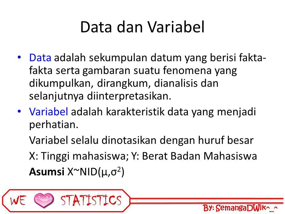 Data dan Variabel Data adalah sekumpulan datum yang berisi fakta- fakta serta gambaran suatu fenomena yang dikumpulkan, dirangkum, dianalisis dan sela