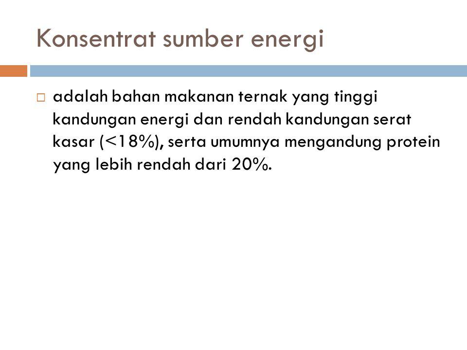 Konsentrat sumber energi  adalah bahan makanan ternak yang tinggi kandungan energi dan rendah kandungan serat kasar (<18%), serta umumnya mengandung
