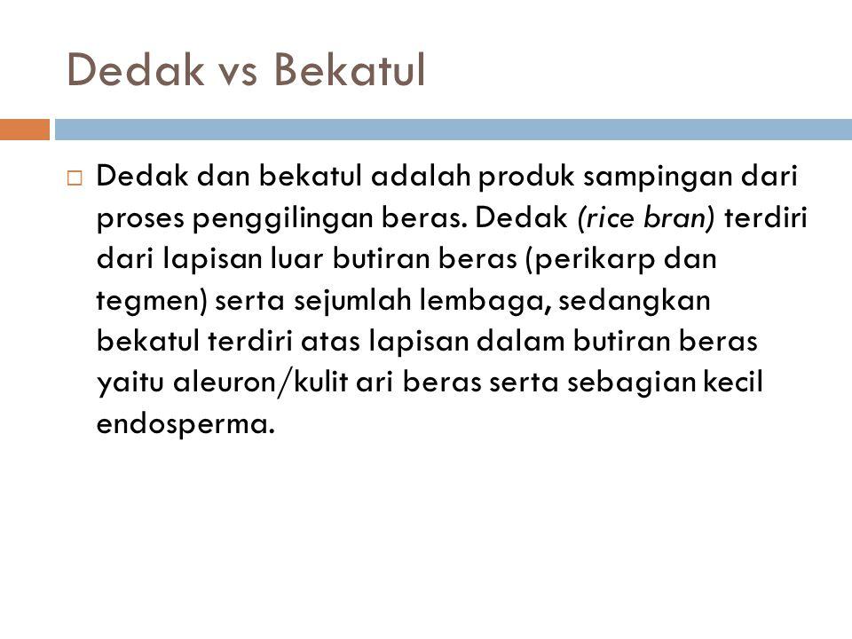 Dedak vs Bekatul  Dalam proses penggilingan padi di Indonesia dedak dihasilkan pada proses penyosohan pertama, sedangkan bekatul pada proses penyosohan kedua.