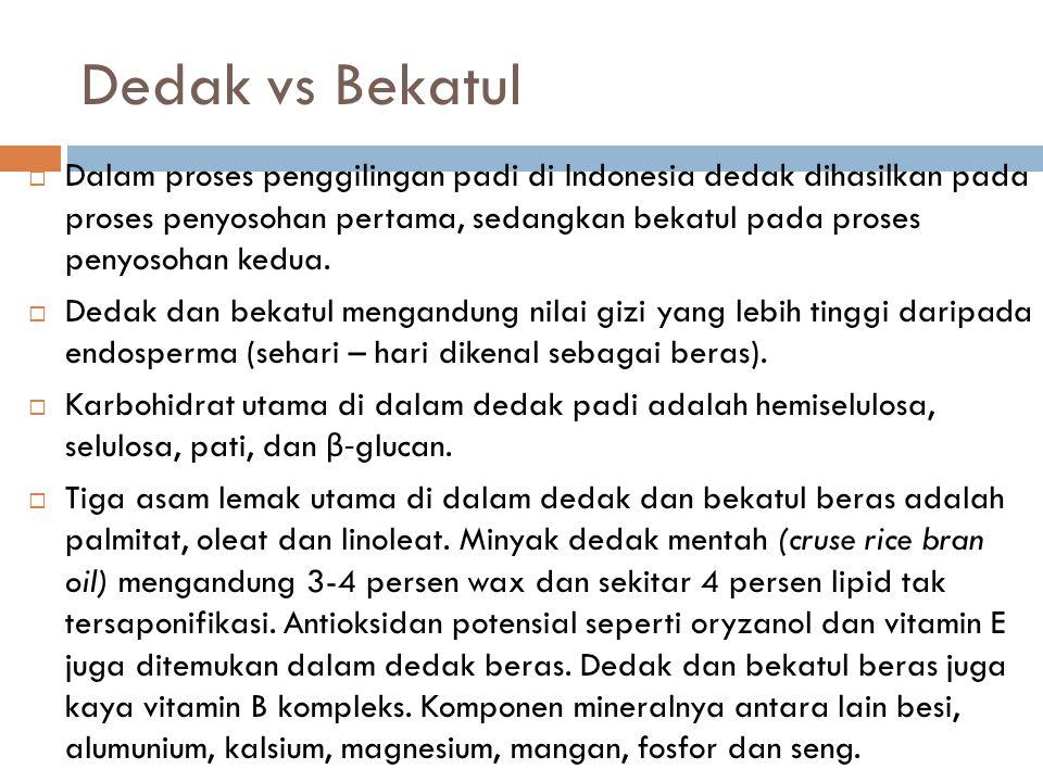 Dedak vs Bekatul  Dalam proses penggilingan padi di Indonesia dedak dihasilkan pada proses penyosohan pertama, sedangkan bekatul pada proses penyosoh