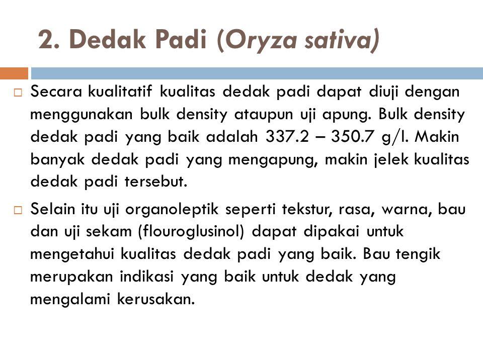 2. Dedak Padi (Oryza sativa)  Secara kualitatif kualitas dedak padi dapat diuji dengan menggunakan bulk density ataupun uji apung. Bulk density dedak