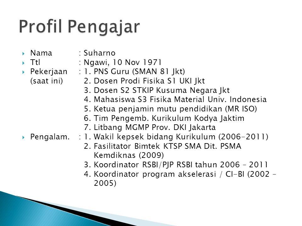  Nama : Suharno  Ttl: Ngawi, 10 Nov 1971  Pekerjaan : 1. PNS Guru (SMAN 81 Jkt) (saat ini) 2. Dosen Prodi Fisika S1 UKI Jkt 3. Dosen S2 STKIP Kusum
