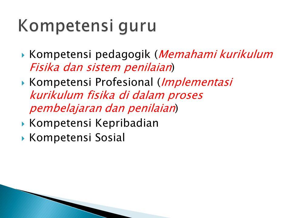  Kompetensi pedagogik (Memahami kurikulum Fisika dan sistem penilaian)  Kompetensi Profesional (Implementasi kurikulum fisika di dalam proses pembel