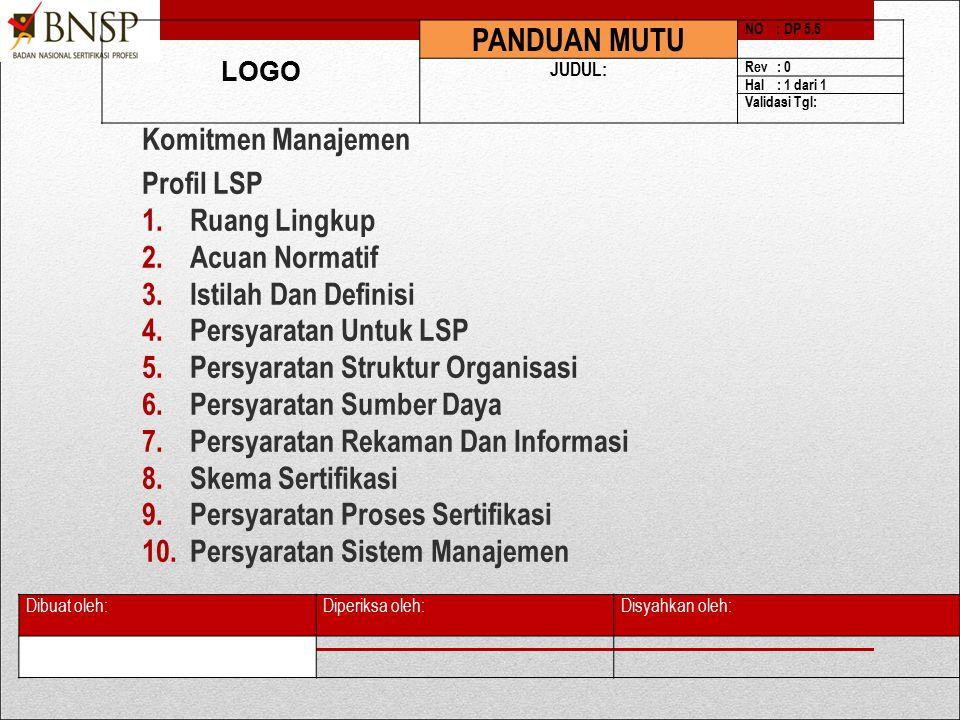 4)Mengembangkan sistem manajemen mutu LSP. Pada langkah ini beberapa tahap yang harus dilakukan mencakupi: Identifikasi sistem manajmen mutu LSP yang